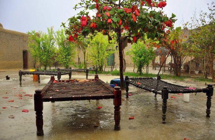 A-village-house-during-rain